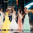 Gabriela Isler du Venezuela, Ariella Arida des Philippines, Patricia Yurena Rodriguez d'Espagne, Jakelyne Oliveira du Bresil et Constanza Baez de l'Équateur forment le top 5 du concours Miss Univers 2013. Moscou, le 9 novembre 2013.