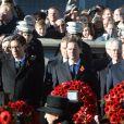 Ed Miliband, Nick Clegg et le premier ministre David Cameron lors de la cérémonie au Cénotaphe de Whitehall durant Remembrance Day à Londres le 10 novembre 2013