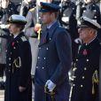 La princesse Anne, le prince William, le prince Philip lors des cérémonie du Remembrance Day au Cénotaphe de Whitehall à Londres, le 10 novembre 2013