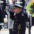 Le prince Philip, lors des cérémonie du Remembrance Day au Cénotaphe de Whitehall à Londres, le 10 novembre 2013