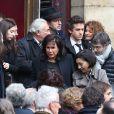 Vanessa, Marine et Laurin Strauss-Kahn, Dominique Strauss-Kahn, Anne Sinclair et Gilles Finchelstein - Obsèques de Brigitte Guillemette, seconde épouse de Dominique Strauss-Kahn, en l'église Saint-Thomas-d'Aquin à Paris, le 7 novembre 2013.