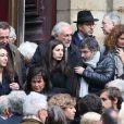 Vanessa, Laurin et Marine Strauss-Kahn, Dominique Strauss-Kahn, Anne Sinclair et Gilles Finchelstein - Obsèques de Brigitte Guillemette, seconde épouse de Dominique Strauss-Kahn, en l'eglise Saint-Thomas-d'Aquin à Paris, le 7 novembre 2013.