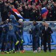 L'équipe de France après sa victoire sur l'Ukraine (3-0) qui lui offre la qualification au mondial 2014 au Brésil, le 19 novembre 2013 au Stade de France à Saint-Denis