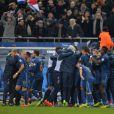 L'équipe de France lors de sa victoire sur l'Ukraine (3-0) qui lui offre la qualification au mondial 2014 au Brésil, le 19 novembre 2013 au Stade de France à Saint-Denis