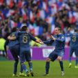 Blaise Matuidi, Mathieu Valbuena et Franck Ribéry après la victoire de l'équipe de France sur l'Ukraine (3-0) qui lui offre la qualification au mondial 2014 au Brésil, le 19 novembre 2013 au Stade de France à Saint-Denis