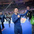 Franck Ribéry après la victoire de l'équipe de France sur l'Ukraine (3-0) qui lui offre la qualification au mondial 2014 au Brésil, le 19 novembre 2013 au Stade de France à Saint-Denis
