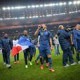 Karim Benzema lors de la victoire de l'équipe de France sur l'Ukraine (3-0) qui lui offre la qualification au mondial 2014 au Brésil, le 19 novembre 2013 au Stade de France à Saint-Denis