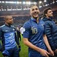 Karim Benzema, Loïc Rémy après la victoire de l'équipe de France sur l'Ukraine (3-0) qui lui offre la qualification au mondial 2014 au Brésil, le 19 novembre 2013 au Stade de France à Saint-Denis