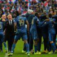 Mamadou Sakho après la victoire de l'équipe de France sur l'Ukraine (3-0) qui lui offre la qualification au mondial 2014 au Brésil, le 19 novembre 2013 au Stade de France à Saint-Denis