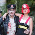Exclusif - Laeticia Hallyday et Johnny Hallyday maquillés pour Halloween à Los Angeles le 31 octobre 2013.