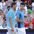 David Nalbandian et Novak Djokovic à Buenos Aires, le 23 novembre 2013.