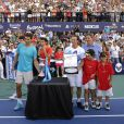 David Nalbandian avec Rafael Nadal et Novak Djokovic et Juan Monaco à Buenos Aires le 23 novembre 2013.