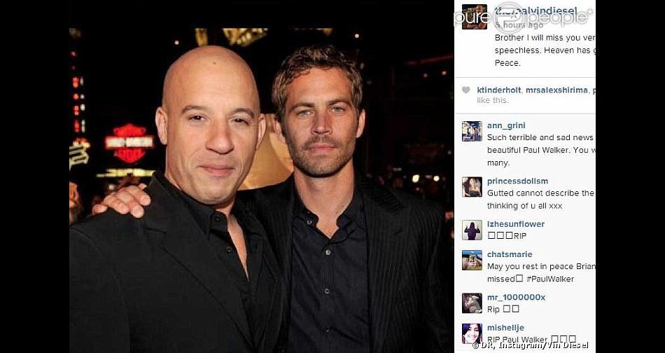 Vin Diesel a perdu celui qu'il considérait comme son 'frère'. Paul Walker, star de Fast & Furious, a été tué à 40 ans le 30 novembre 2013 dans le crash d'une Porsche Carrera GT que conduisait son ami Roger Rodas à Santa Clarita, au nord de Los Angeles.