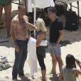 """Exclusif - Paul Walker pose lors d'un photoshoot pour le parfum """"Davidoff's Cool Water"""" sur une plage a Hawaï, le 5 septembre 2013."""