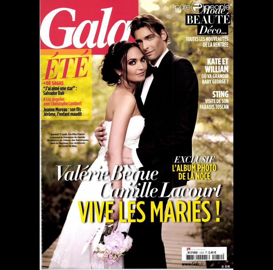 Valérie Bègue et Camille Lacourt (ici en couverture du magazine Gala du 21 août 2013) se sont mariés le 17 août 2013.