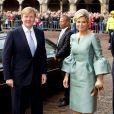 La reine Maxima arrivant avec le roi Willem-Alexander à la Salle des Chevaliers pour une cérémonie marquant le début des célébrations du bicentenaire du royaume des Pays-Bas, le 30 novembre 2013 à La Haye.