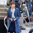 Dakota Johnson sur le tournage de Fifty Shades of Grey à Vancouver, le 8 décembre 2013.