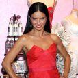 Le top brésilien Adriana Lima, moulée dans une robe bustier rouge, prend la pose pour une journée promo Victoria's Secret à New York le 9 décembre 2013