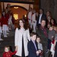 Le prince Frederik et la princesse Mary assistaient avec leurs quatre enfants, le prince Christian (8 ans), la princesse Isabella (6 ans), et les jumeaux Vincent et Joséphine (bientôt 3 ans), au concert de Noël du choeur d'enfants du Conservatoire royal de musique, le 15 décembre 2013 en l'église d'Isaiah à Copenhague.