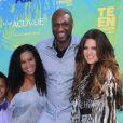 Lamar Odom, sa fille Destiny, son fils Lamar Jr. et Khloé Kardashian à Los Angeles en août 2011.