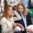 Gwendal Peizerat et sa compagne. - P eople aux Internationaux de France de tennis de Roland Garros à Paris Le 30 mai 2014.