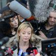 Sabine Kehm, attachée de presse de Michael Schumacher, lors d'une conférence de presse le 1er janvier 2014 au CHU de Grenoble
