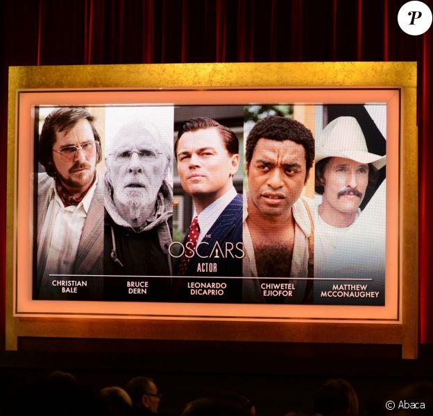 Les 5 acteurs nommés à l'Oscar du meilleur acteur à Beverly Hills, Los Angeles, le 16 janvier 2014.
