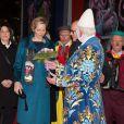 La princesse Charlene de Monaco arrivant pour la représentation du 21 janvier 2014 au 38e Festival International du Cirque de Monte-Carlo, marquée par la remise des prix du Festival, les Clowns d'or, d'argent et de bronze.