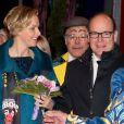 Le prince Albert II de Monaco et la princesse Charlene au soir de la représentation du 21 janvier 2014 au 38e Festival International du Cirque de Monte-Carlo, marquée par la remise des prix du Festival, les Clowns d'or, d'argent et de bronze.