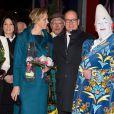 La princesse Stéphanie de Monaco, sa fille Pauline Ducruet, le prince Albert et la princesse Charlene arrivent pour la représentation du 21 janvier 2014 au 38e Festival International du Cirque de Monte-Carlo, marquée par la remise des prix du Festival, les Clowns d'or, d'argent et de bronze.