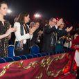 Pauline Ducruet, sa mère la princesse Stéphanie de Monaco, le prince Albert et la princesse Charlene dans la loge d'honneur le 21 janvier 2014 au 38e Festival International du Cirque de Monte-Carlo, marquée par la remise des prix du Festival, les Clowns d'or, d'argent et de bronze.
