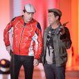 Les Chevaliers du Fiel (Eric Carrière et Francis Ginibre) lors de l'enregistrement de l'émission Vivement dimanche le 22 janvier 2014 à Paris (diffusion sur France 2 le 26 janvier)
