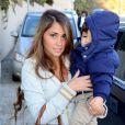 Antonella Rocuzzo, la compagne de Lionel Messi, et son fils Thiagoà l'anniversaire de Milan, le bébé de la chanteuse Shakira et de Gerard Piqué, à Barcelone le 23 janvier 2014
