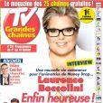 Laurence Boccolini, en une du magazine TV Grandes Chaînes, en kiosques le lundi 27 janvier 2014.