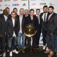 Les handballeurs de l'equipe de Franceau restaurant la Gioia à Paris pour célébrer le titre de champion d'Europe de handball décroché face au Danemark, le 27 janvier 2014