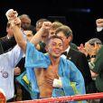 Gennady Golovkin après sa victoire sur Osumanu Adama, lors du championnat du monde WBA des poids moyens à Monaco, le 1er février 2014