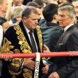 Michael Wittstock en tenue traditionnelle kazakh après avoir assisté au championnat du monde WBA des poids moyens WBA entre Gennady Golovkin et Osumanu Adama à Monaco, le 1er février 2014, en compagnie de sa fille Charlene de Monaco