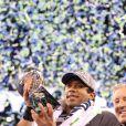 Le quarterback Russell Wilson lors du 48e Super Bowl entre les Broncos de Denver et les Seahawks de Seattle, le 2 février 2013 au Metlife Stadium de New York à East Rutherford, dans le New Jersey