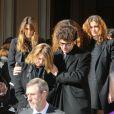 Catherine Pastor et ses enfants Alexandra, Delphine, Emilie-Sophie et Jean-Baptisteaux obsèques de Michel Pastor en l'église Saint-Charles à Monaco le 6 février 2014.
