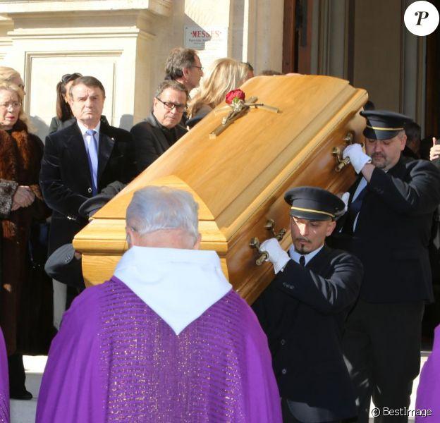 Catherine Pastoraux obsèques de Michel Pastor en l'église Saint-Charles à Monaco le 6 février 2014.