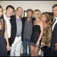 Exclusif - Sophie Duez, Christian Estrosi, le prince Albert II, Johnny et Laeticia Hallyday, Michel et Catherine Pastor lors du concert du rockeur à Monaco le 19 juillet 2009
