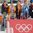 Le roi Willem-Alexander des Pays-Bas et la reine Maxima, le 8 février 2014 aux JO de Sotchi, ont pu admirer l'exploit des patineurs néerlandais, qui sont montés à trois sur le podium du 5000 mètres remporté par Sven Kramer.