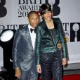 Pharrell Williams et Helen Lasichanh assistent aux Brit Awards 2014 à l'O2 Arena. Londres, le 19 février 2014.