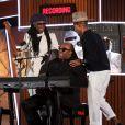 Nile Rodgers, Stevie Wonder et Pharrell Williams avec Daft Punkaux Grammy Awards à Los Angeles le 26 janvier 2014.