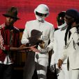 Nile Rodgers, Stevie Wonder et Pharrell Williams avec Daft Punk aux Grammy Awards à Los Angeles le 26 janvier 2014.