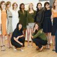 Jeanne Yang et Katie Holmes, dans les coulisses de leur défilé pour la collection prêt-à-porter Printemps 2014, à la fashion week de New York, le 9 septembre 2013.