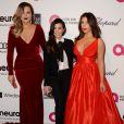 Khloe Kardashian, Kim Kardashian et Kourtney Kardashian lors de la 22e édition des Elton John AIDS Foundation Academy Awards à West Hollywood, Los Angeles, le 2 mars 2014