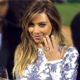 Kim Kardashian et son diamant imaginée par Lorraine Schwartz et offert par son fiancé Kanye West. San Francisco, le 21 octobre 2013.