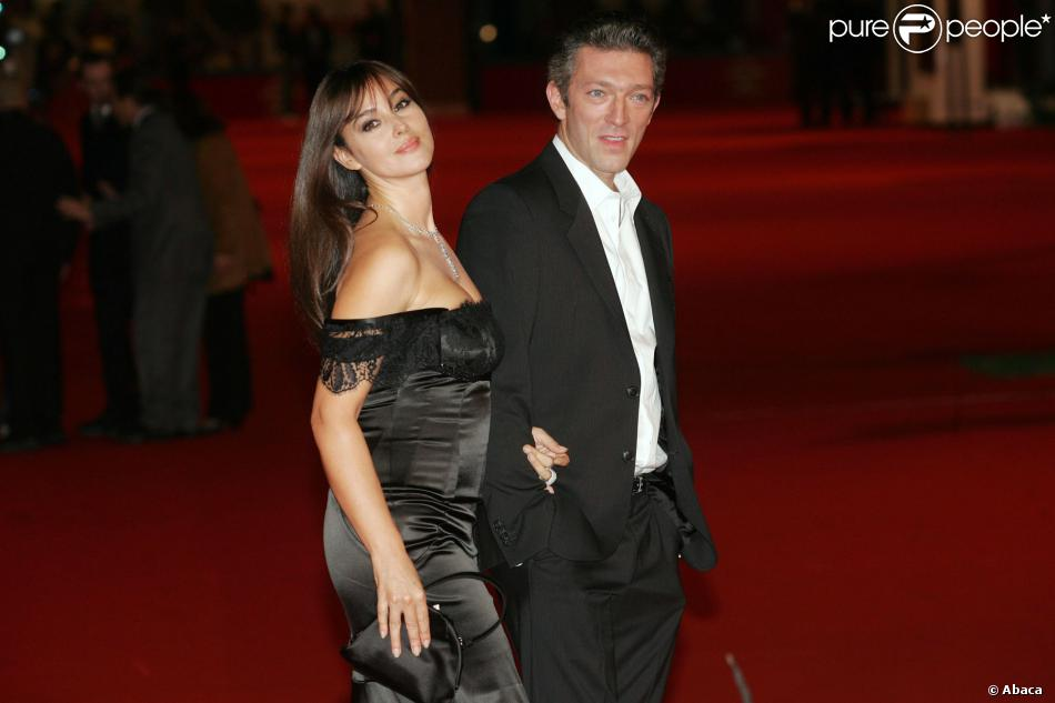 Monica Bellucci et Vincent Cassel à Rome, le 23 octobre 2008.
