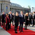 La princesse Victoria de Suède et son époux le prince Daniel à la sortie du Petit Palais après l'inauguration de l'exposition ''Carl Larsson, l'imagier de la Suède'', à Paris le 6 mars 2014.